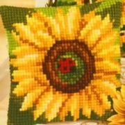 Vervaco 1225-5767 Sunflower with Ladybird Cushion Front